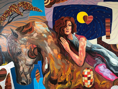 Cuadro de Mujer montando caballo - Pintura de Óleo