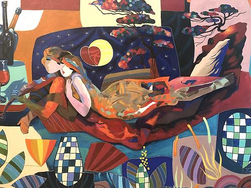Cuadro ''Melodia al Anochecer'' - Pintura de Óleo