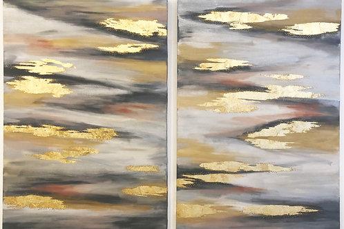 Pinturas abstractas con detalles en pan de oro