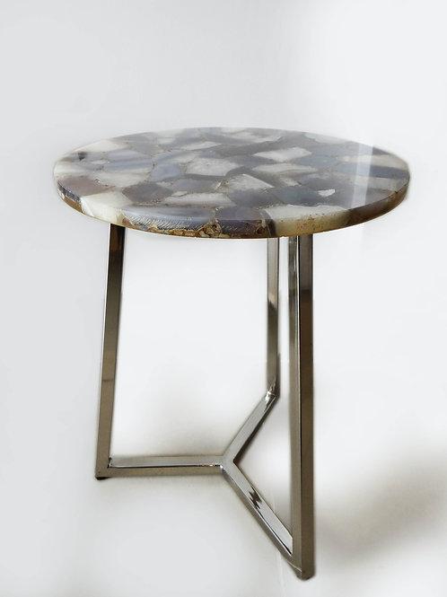 Mesa auxiliar con base de acero inoxidable y top de piedra semi preciosa