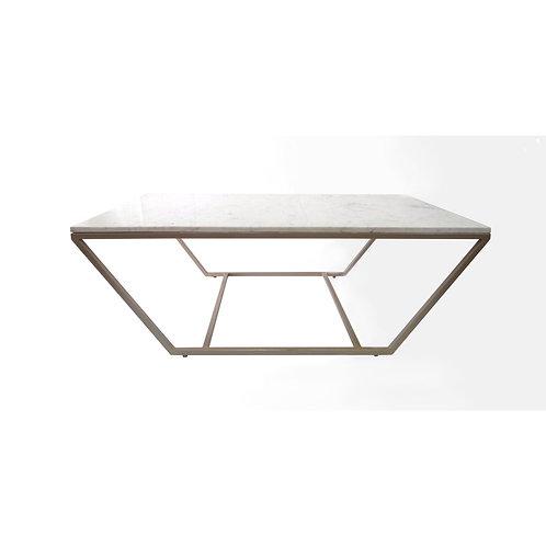 Mesa de centro con top de mármol con base de hierro- color champagne