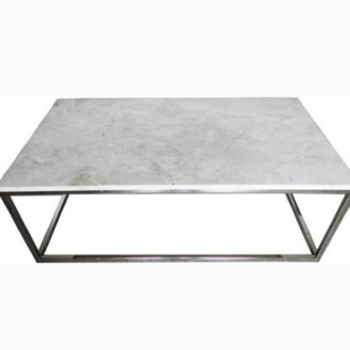 White Marble Top with Stainless Steel Base