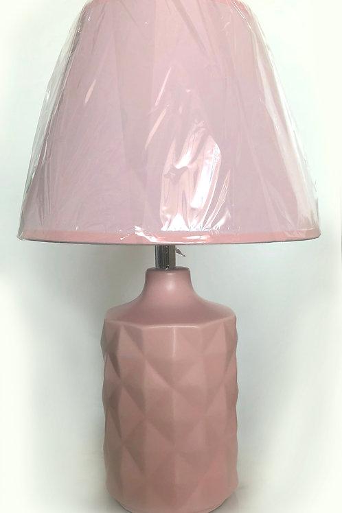 Lámpara Rosada con Base de Rombos