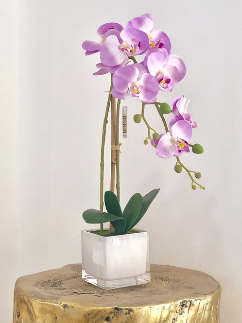 Orchid glass white vase - purple