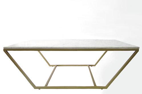 Mesa de centro con top de mármol con base de hierro- color dorado