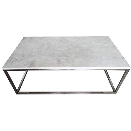 Mesa con top de mármol base de hierro