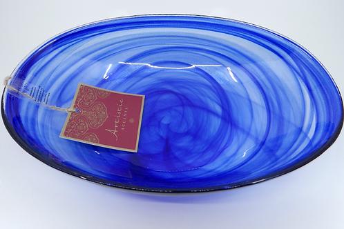 Plato de Cristal Tono Azul Rey