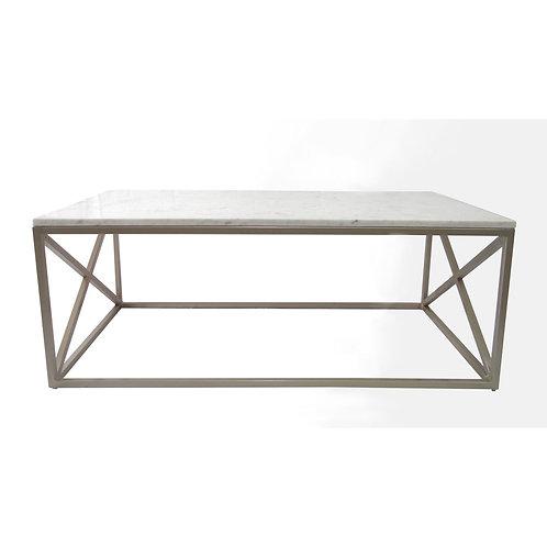 Mesa con top de mármol con base X lateral de hierro color champagne