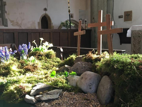 Easter garden and lilies at St Meubred's