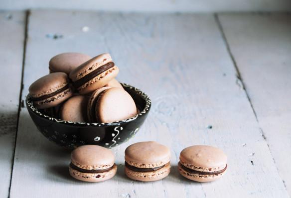 Dark Chocolate & Cardamon French Macarons