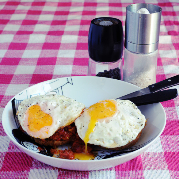 fried eggs & sausage on gluten free rusks