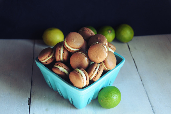 Lime, chocolate & dark rum macarons