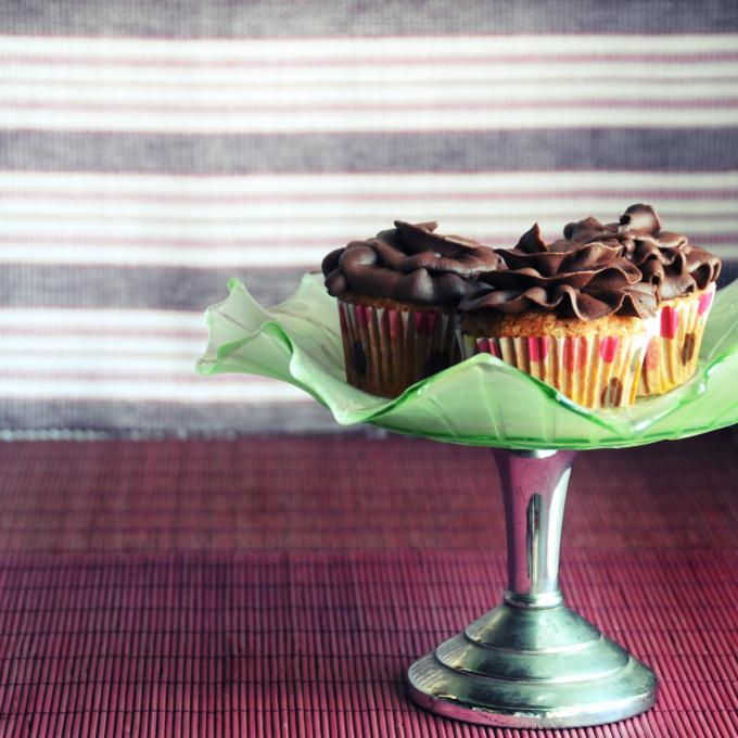gluten-free banana cupcakes & sour chocolate ganache