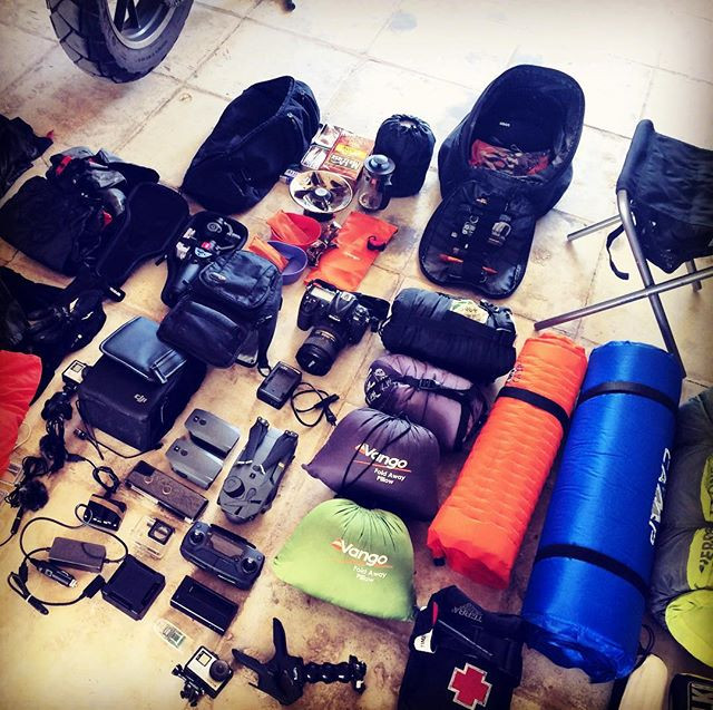 Camping gear for motorcycle travel