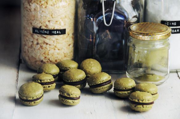 Matcha Green Tea & Dark Chocolate Macarons