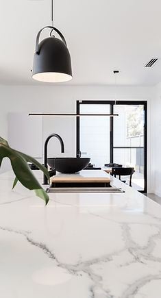 Beautiful quartz countertop in high end kitchen