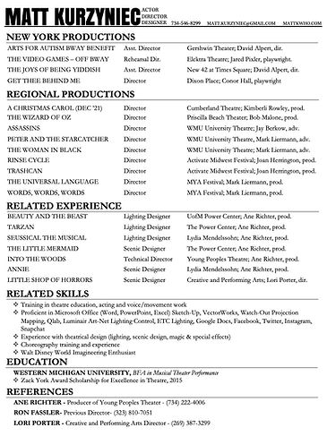Matt Kurzyniec - Directing Resume Feb 21