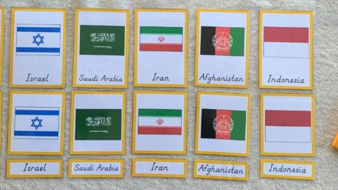 Bandeiras: Ásia - Cartões de três partes (Flags: Asia)