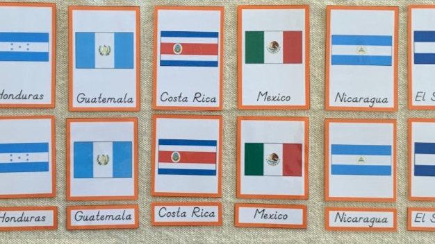 Bandeiras: América do Norte - Cartões de três partes (Flags: North America)