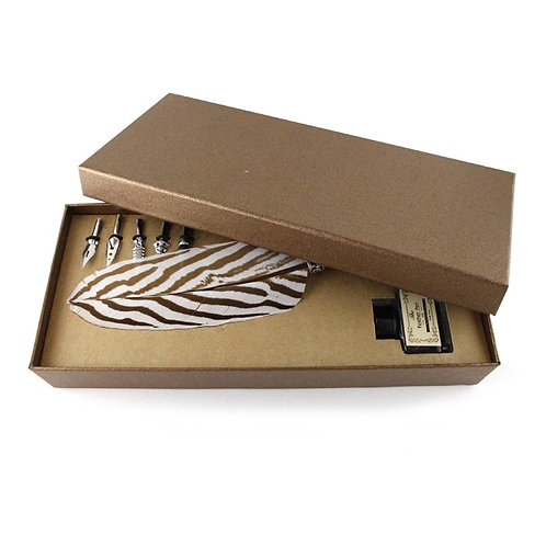 Set d'écriture - Stylo plume de faisan et encre