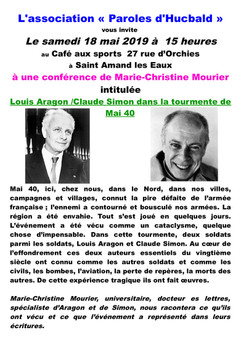 Conférence Aragon/Claude Simon dans la tourmente de Mai 40 le 18 mai