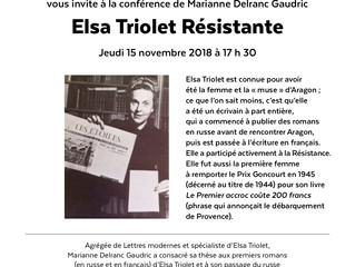 Conférence Elsa Triolet résistante au Carré de Baudoin