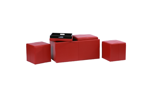 Maxime Storage Ottoman with Trays & 2 Footstools