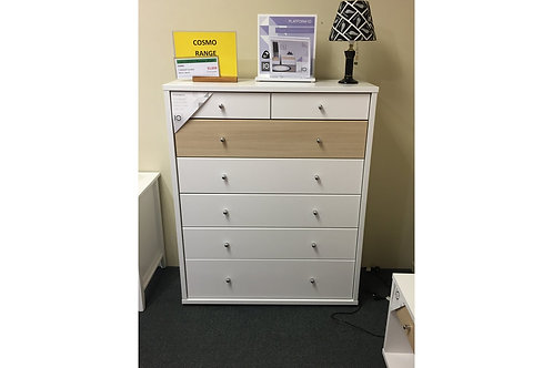 Cosmo 7 Drawer Tallboy White/Beech