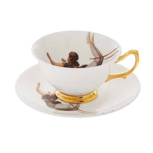 TRAPEZE GIRL BONE CHINA TEACUP AND SAUCER