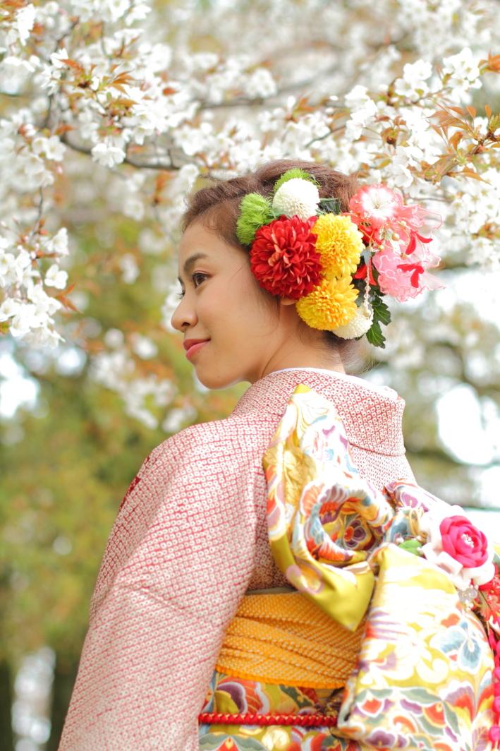 成人式 ロケ 公園 桜 カメラマン撮影 出張撮影