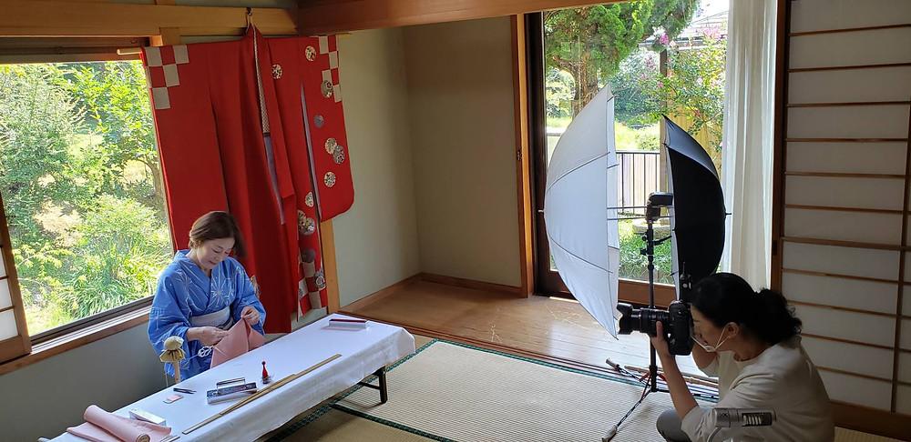 教室撮影 和裁教室滋賀 カメラマン撮影中
