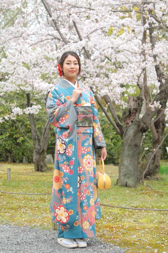 桜 着物 ロケ 桜と撮影 成人式 着物で撮影 出張撮影