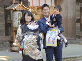 七五三+お宮参りの家族写真