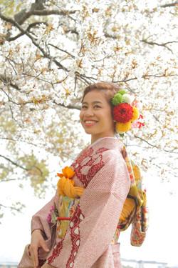 自然撮影 公園 出張撮影 着物 成人式 桜