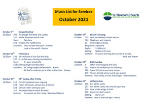 October Music List