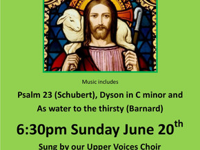 Upper Voices Choral Evensong this weekend