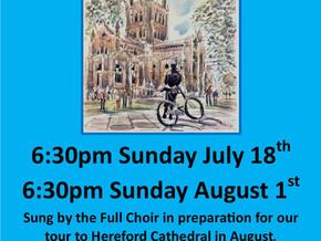 Full Choir Evensongs coming up - outside and inside!