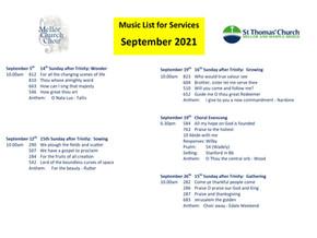 September Music List