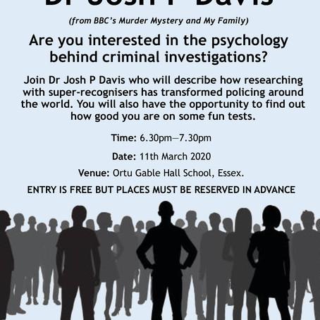 Essex Public lecture by Josh Davis: 11 March 2020