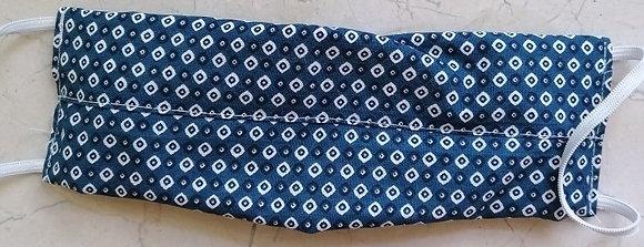 Mund- und Nasenmaske (blau-weiß) Baumwolle waschbar