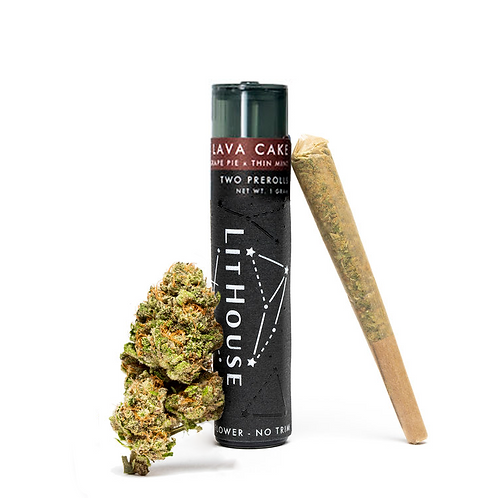$20 I LAVA CAKE TWO 0.5G PREROLLS I LITHOUSE I THC 19% I INDICA DOMINANT