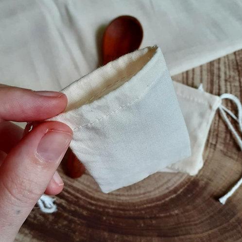 10 x Unbleached Reusable Cotton Tea Bags