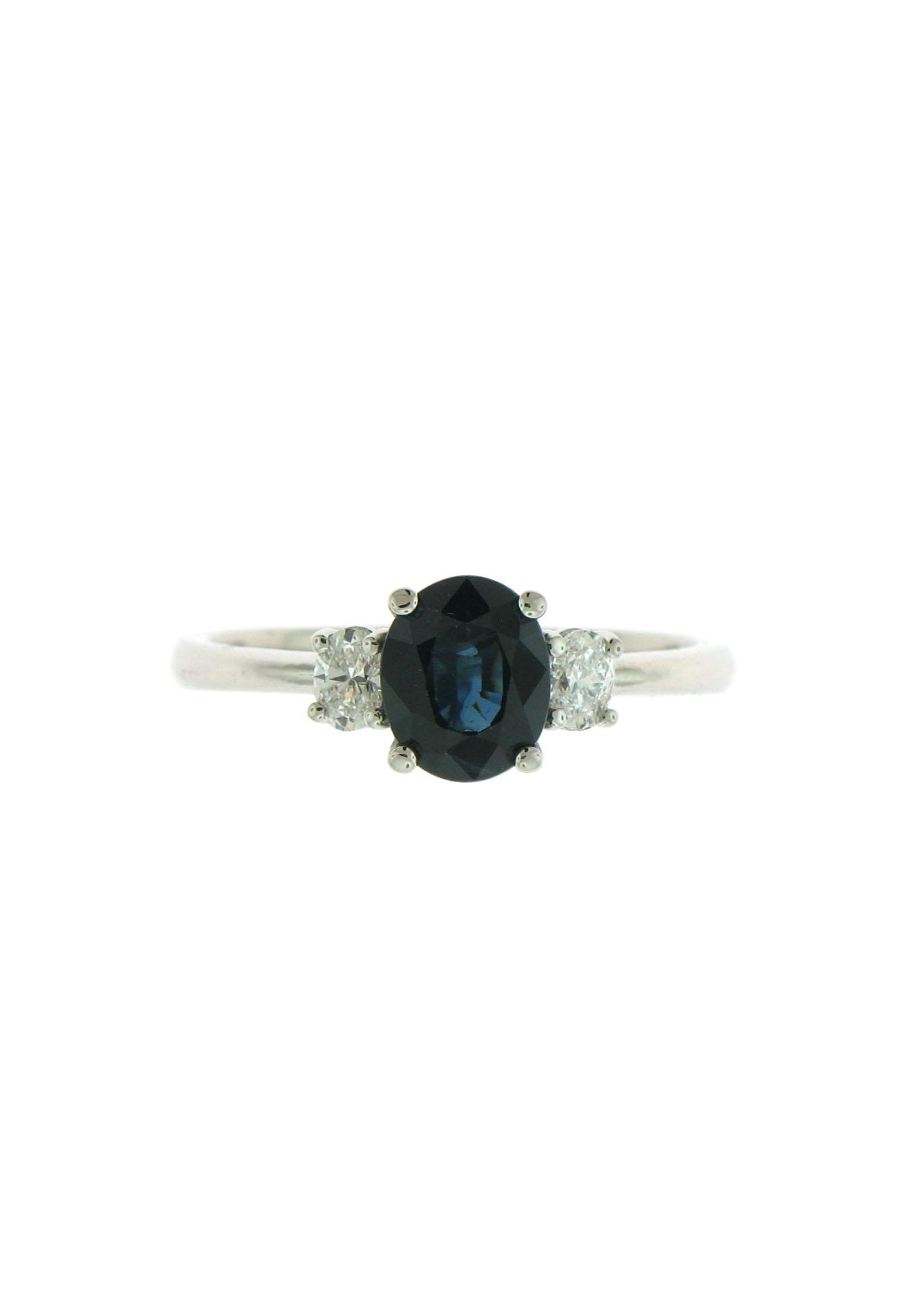 Sapphire & Diamond 3-Stone Ring