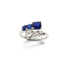 Sapphire Diamond Bypass Ring
