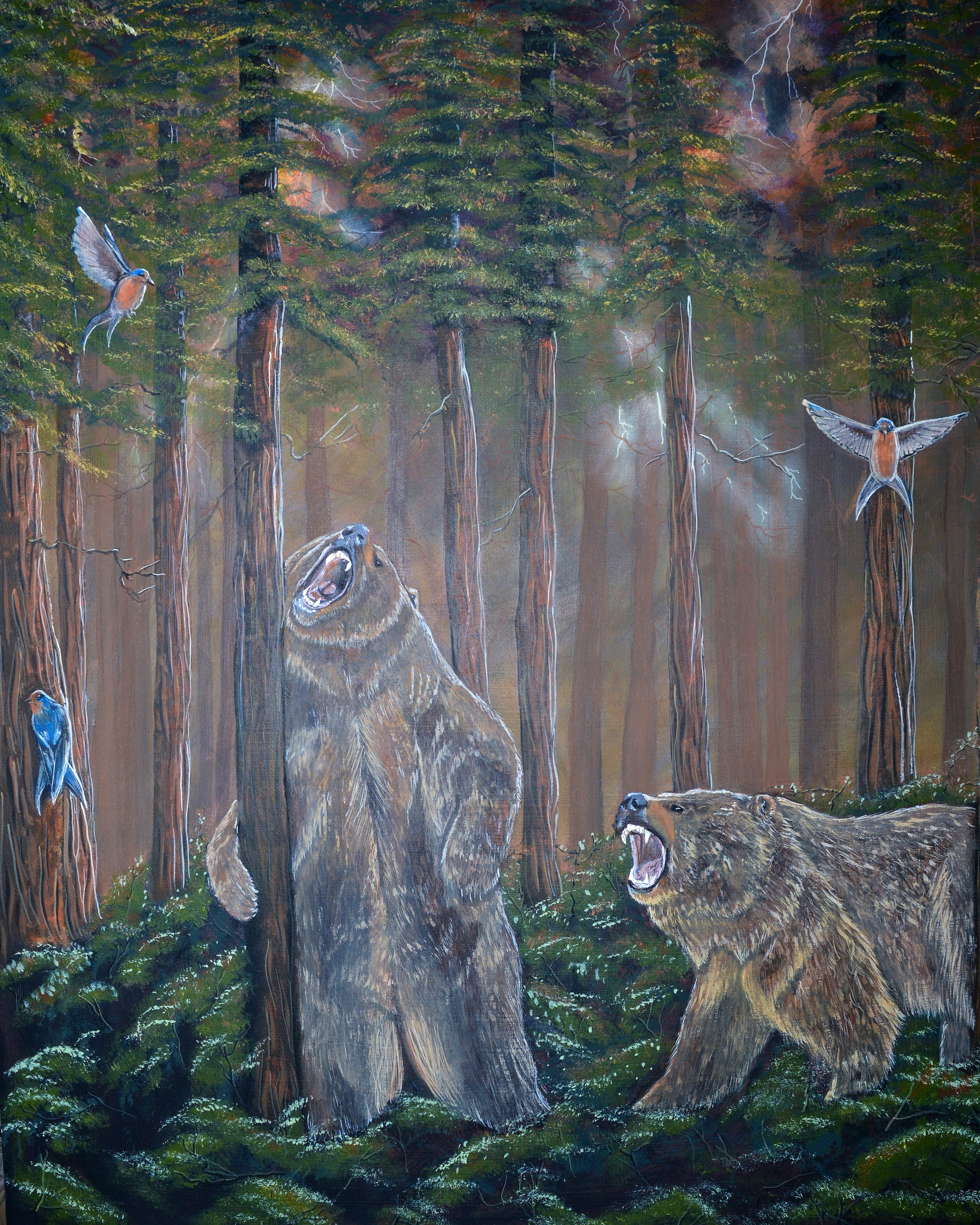 """Grizzlies in Redwood Forest"""