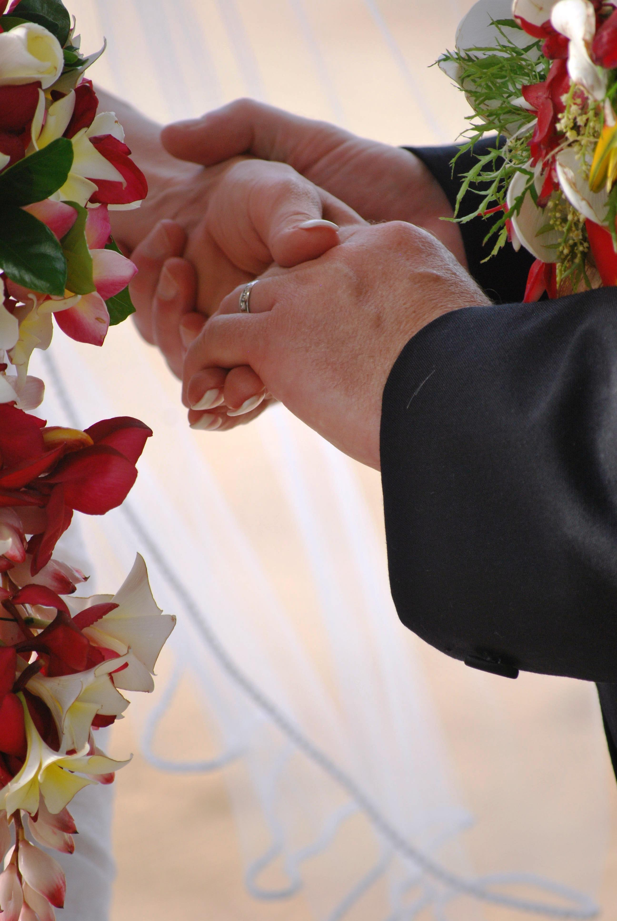 Fiji Wedding Holding Hands