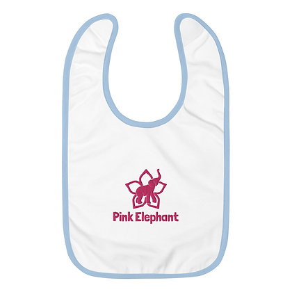 Pink Elephant   Embroidered Baby Bib