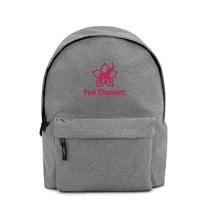 Pink Elephant | Embroidered Backpack