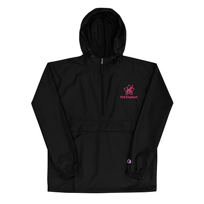 Pink Elephant | Embroidered Champion Packable Jacket