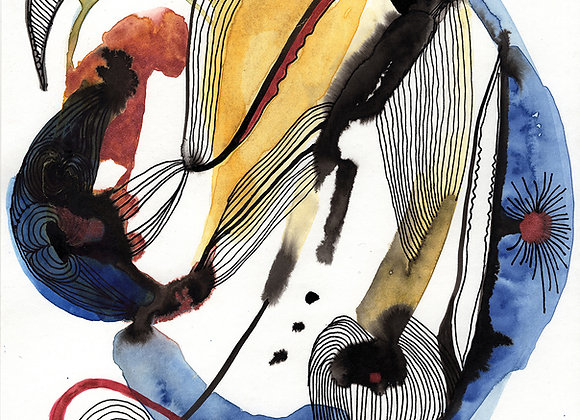 Balancing the path of the lines in affective relation with the colors -A3 size)